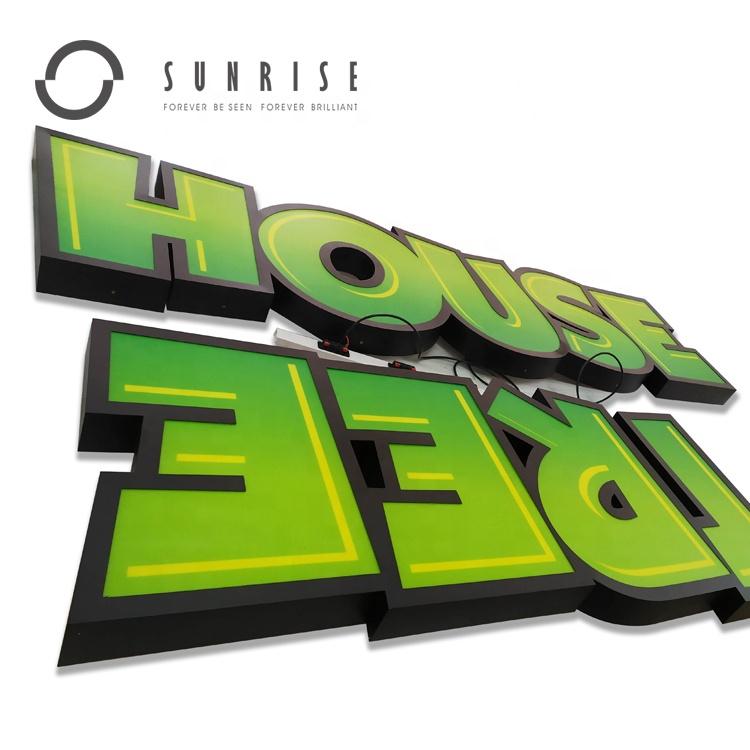 SUNRISE SIGN Manufacturer Custom Coffee Shop Sign Stainless Steel Return 3D Letter Lighted Logo Sign