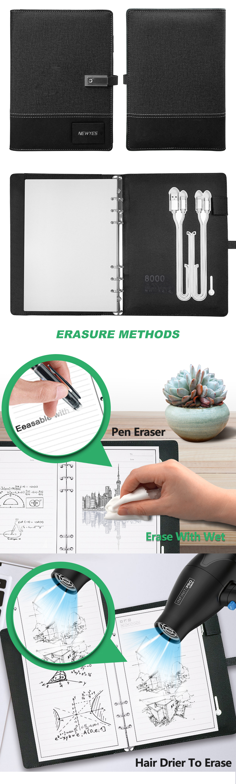 Newyes A5 Leather Refillable Smart Erasable Notebook with 8000mAh Powerbank And USB Flash Disk