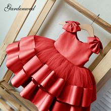 2020 пышные Розовые Свадебные платья с цветочным узором для девочек Лидер продаж, детское платье знаменитостей с атласным бантом детское пла...(China)