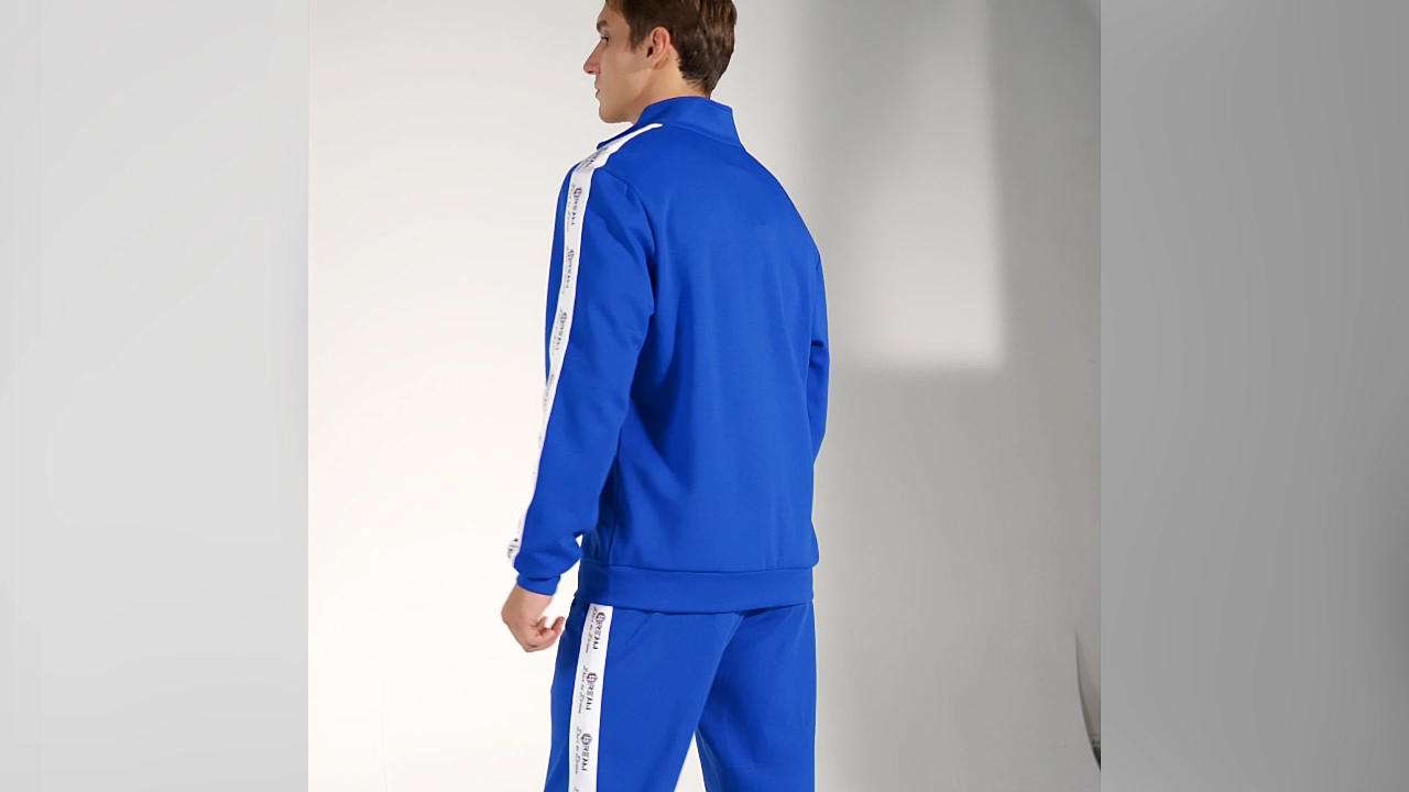 Oem Fashion Fitness Unisex 2 Piece Sets Side Stripe Design Custom Sports Jogger Sets Mens Fall Tracksuit