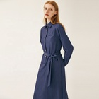 Long maxi dress high quality dark blue long sleeve belt calf length casual women dress