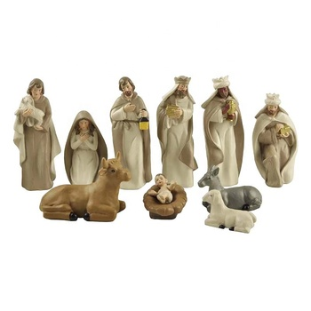 Superior resin material handmade S / 10 Nativity family milky white desk decoration