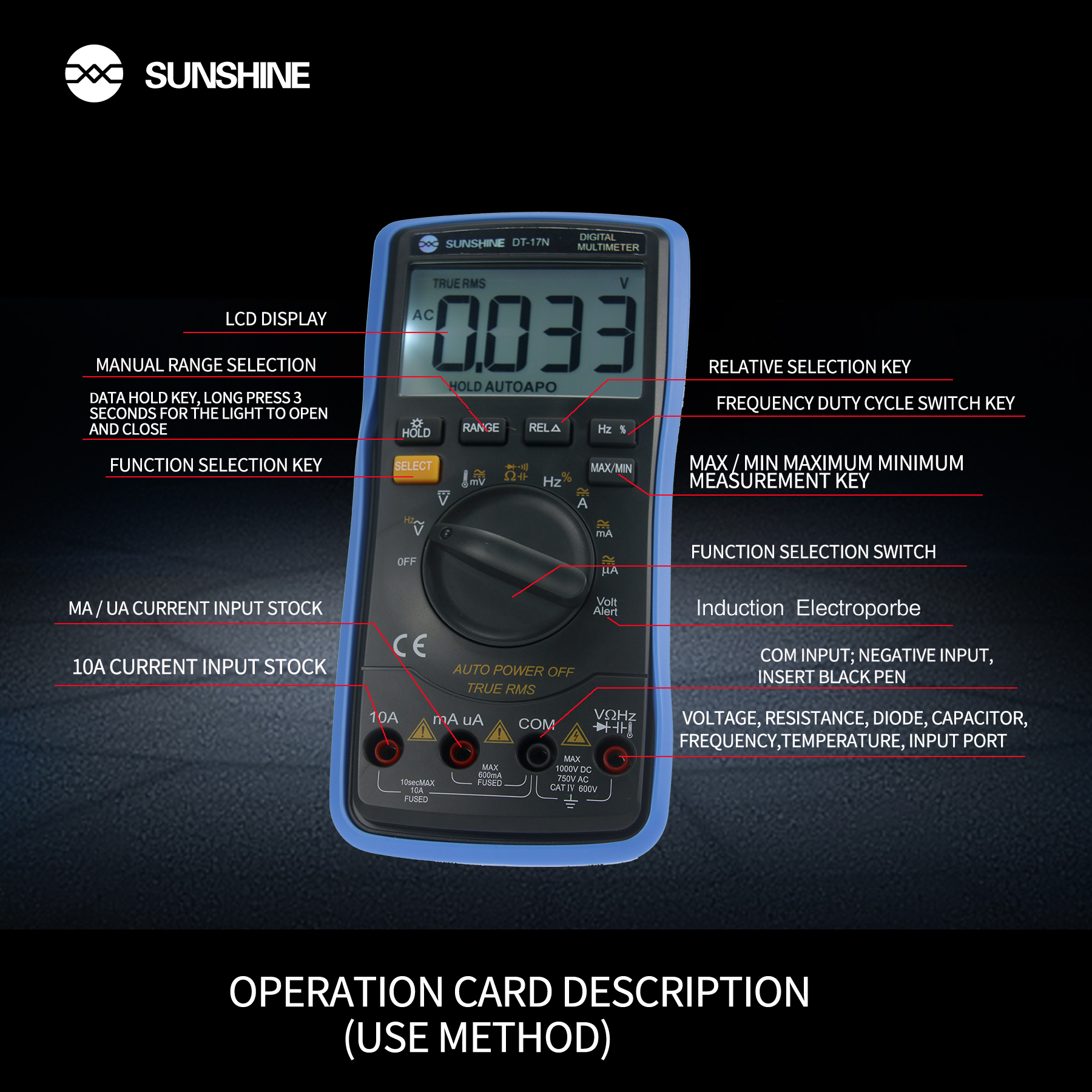 Tiansunshine DT-17N — multimètre numérique, avec fonction de sonde électrique à Induction