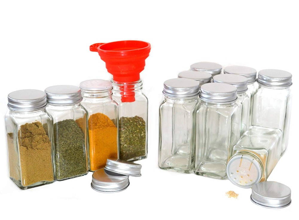 Multifunction 4oz 120ml Square Glass Spice Jar for Salt Chili Herbs with Aluminium Lid with Hole