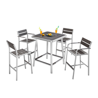 4 Seater Plastic Wood Top Metal Aluminum High Outdoor Counter Bar Table And Chairs