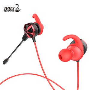 Black red dual mic gaming dynamic in ear stereo ear headphone earphones earbuds