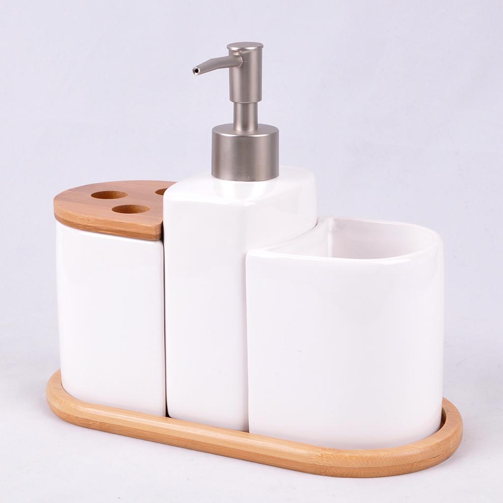Materiale di bambù Offerta di Fabbrica di Ceramica di Bambù Accessori Per il Bagno Set Da Bagno Spazzole