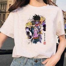 Женская футболка с короткими рукавами LUSLOS Kujo Jotaro, белая Повседневная футболка с принтом японского аниме, уличная одежда(China)