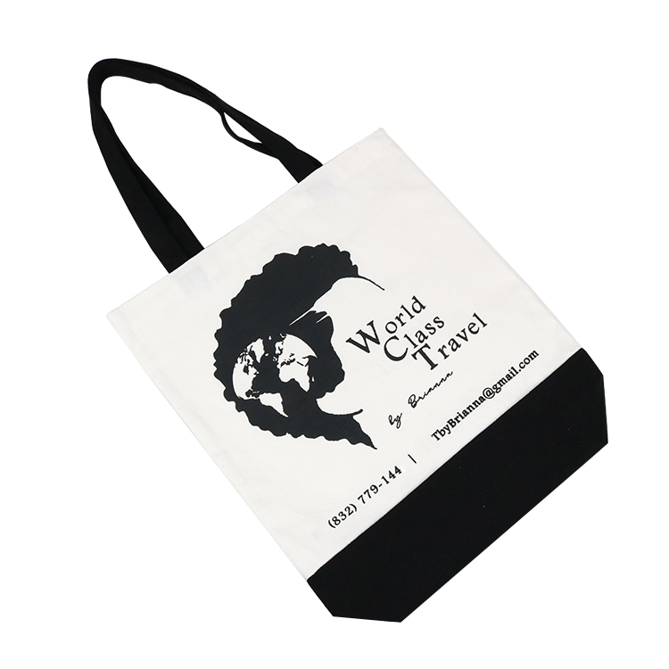 Black handle canvas bag custom print promotional 100% cotton canvas tote bag wholesale