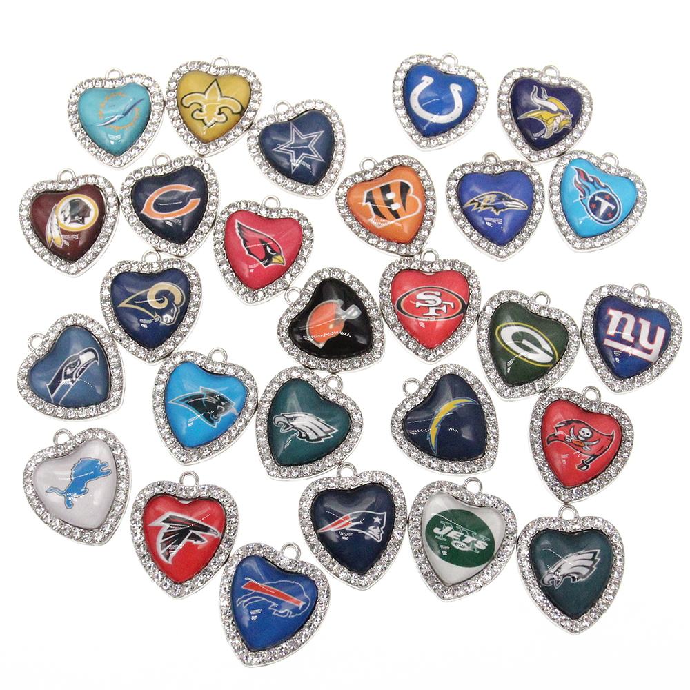 New Custom 32 designs rhinestone heart American football pendant <strong>charms</strong>