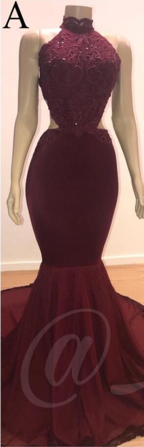 Бордовые, с длинными рукавами платья для выпускного вечера 2020 кружевные вечерние платья русалки реальное изображение сексуальные прозрачн...(Китай)