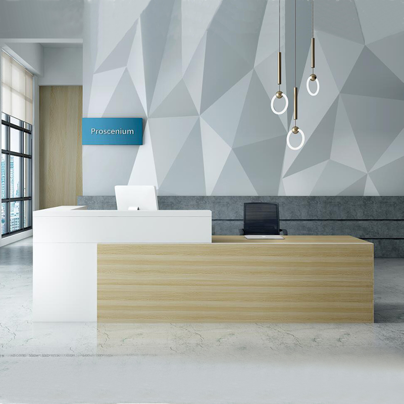 Dious L shape front reception counter modern white office reception desk
