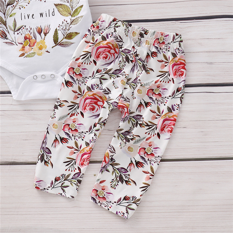Hot style 3 pieces floral pattern infant clothes baby organic romper clothing sets girls outfits
