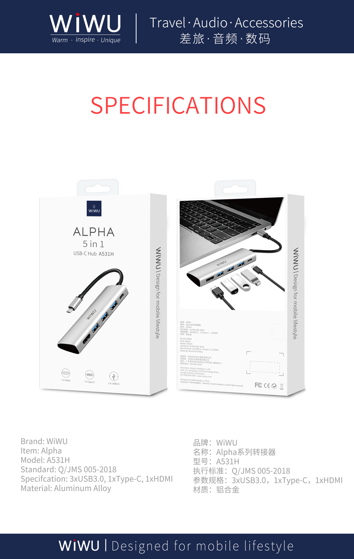 WiWU Alpha 5 in 1 USB C Hub A531H USB 3.0 Data Tansfering Charging Aluminum Alloy All in One Type C Hub USB C to HD MI