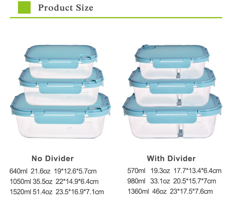 Microwave safe food container glass bento lunch box with 2 compartment