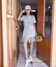 Платье XITAO, тонкое, Сетчатое, элегантное, в полоску, для лета, 2020(Китай)