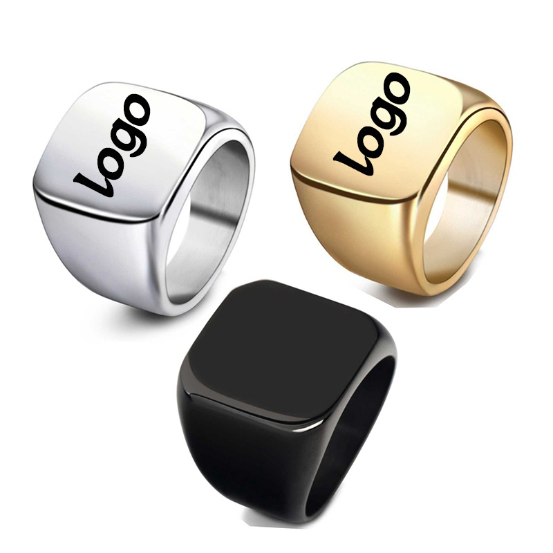 316L Men Metal Ring Blanks Latest Gold Plated Finger Ring Designs Fashion Military Simple Silver Stainless Steel Ring, Custom color