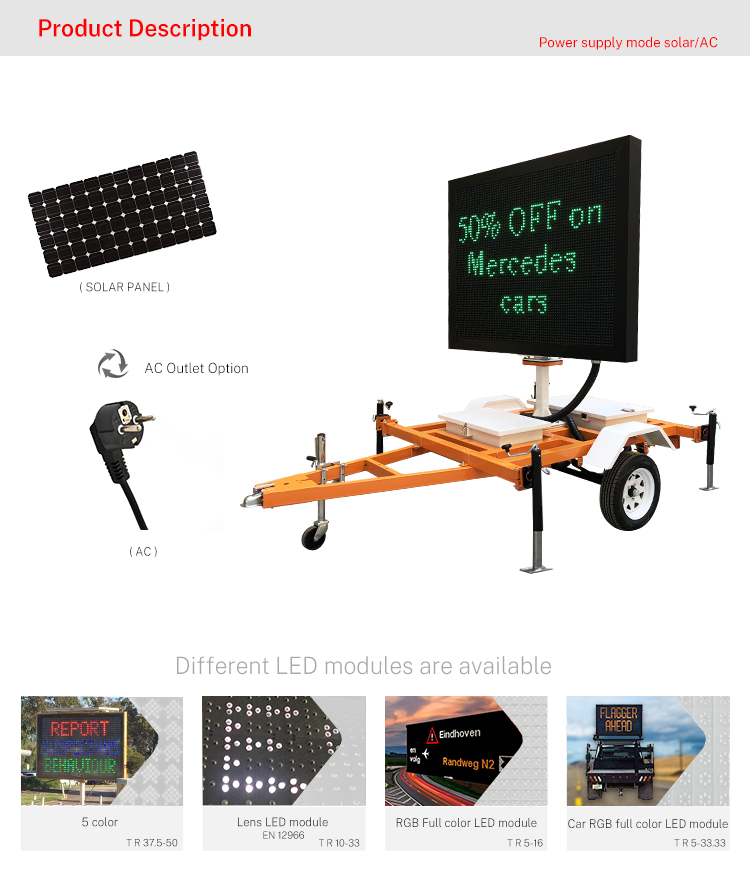 Mobile Energy Saving   Led Modules Board Variable Message Display Signs  Vms