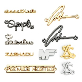 Hot Selling Purse Hardware Metal Plate Logo For Wallet, Clothing Bags Accessories Custom Sew Metal Letter Logo Label for Clothes