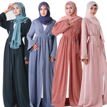 Nouveau Design vêtements islamiques cousu main strass <span class=keywords><strong>cardigan</strong></span> musulman diamant robes abaya