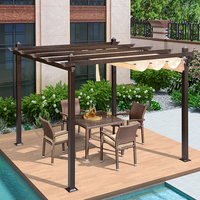 Garden metal pergola aluminium grape trellis luxury morden outdoor pergola louver with retractable sunshade gazebos canopy 3x3m