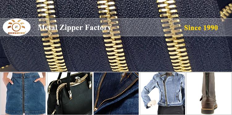 Custom Brass Rose Gold Silver Black White Zipper Metal for Jeans Jacket Coat Bag
