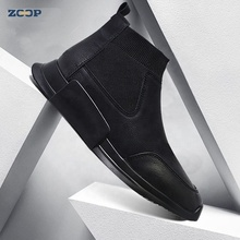 New fashion style high quality black fiber leather men's sports shoes