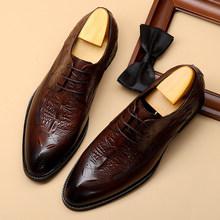 Мужская обувь из натуральной кожи; Деловая модельная обувь для торжеств; Повседневная обувь; Мужская брендовая Свадебная обувь из воловьей ...(Китай)