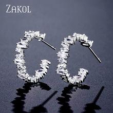ZAKOL модные AAA багет кубического циркония T обруч с камнем Серьги для женщин Мода Круг Свадебные аксессуары FSEP2174(Китай)