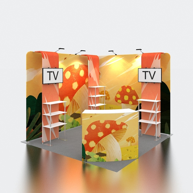 High Quality Portable 10x10 Exhibition Booth with TV Stand and Shelves 3x3 Trade Show Booth Display Stand