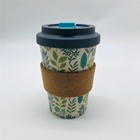 Eco friendly 450ml bamboo fiber coffee cup screw lid travel cup with wood fiber sleeve and clip