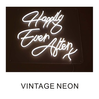 Cool colors happy ever after with soft neon signage for business