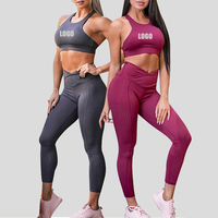 Best Selling Plain Tight Two Piece Workout Clothing Women Fitness Yoga Wear Sets