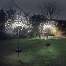 Новый уличный светодиодный светильник на солнечной энергии с фейерверком, водонепроницаемый светильник со вспышкой для сада и лужайки(Китай)