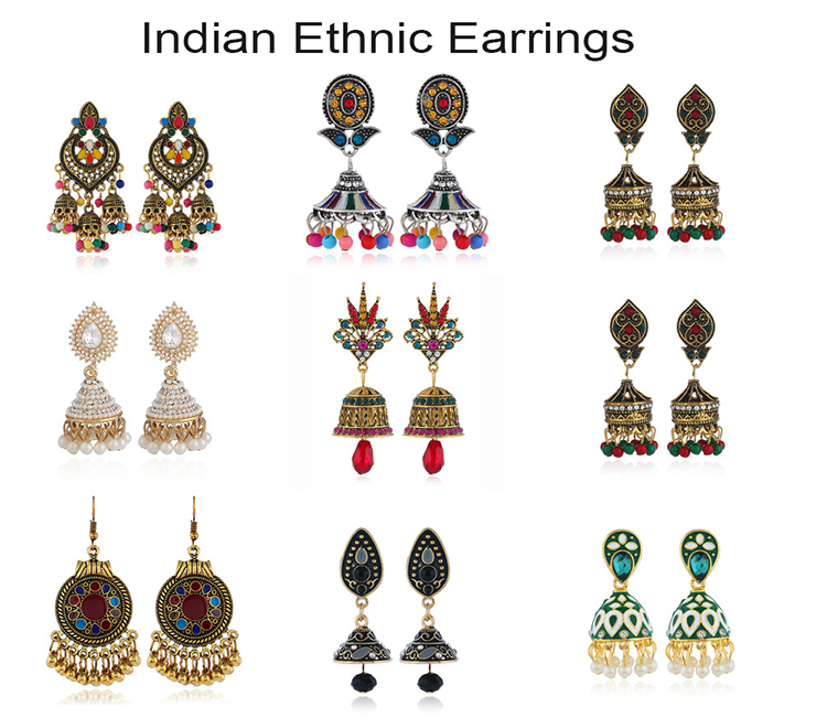 Jóia Tradicional indiana Jhumki Em Forma de Sino de Prata Do Vintage Da Moda Grandes Brincos Jhumka