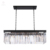 Simple Modern Rectangular Black Iron Luxury Crystal Dining Room Pendant Light
