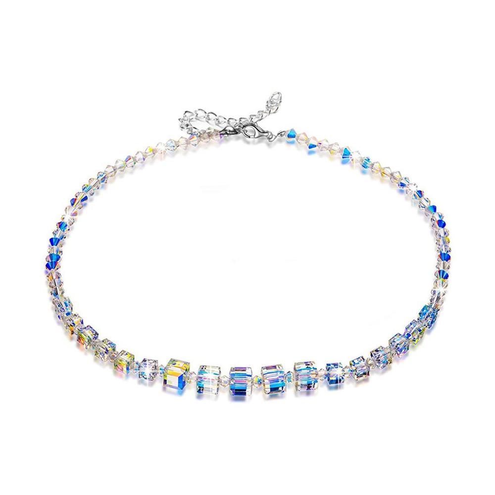 """Aurora Crystal Ketting 925 Sterling Zilver, Kristallen uit Swarovski Romantiek Strand Ketting voor Vrouwen 18.5 """"Amazon Hot Geschenken"""