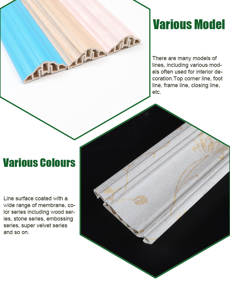 new design100mm Bamboo fiber composite easy  install  interior decoration plastic crown ceiling cornice moulding for wholesale