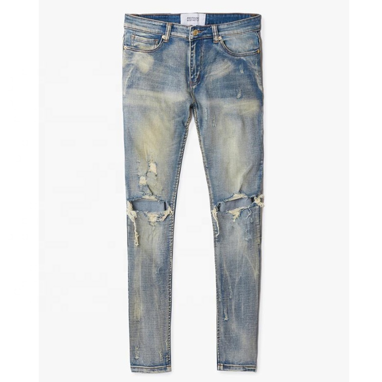 DiZNEW dongguan custom destroyed denim Jeans ripped skinny jeans men