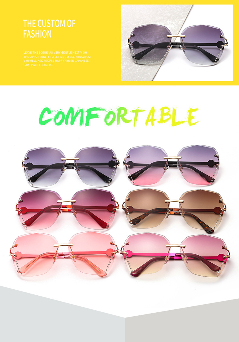New Arrivals Rimless Female Diamond Glasses Funny Face Irregular Women Sunglasses