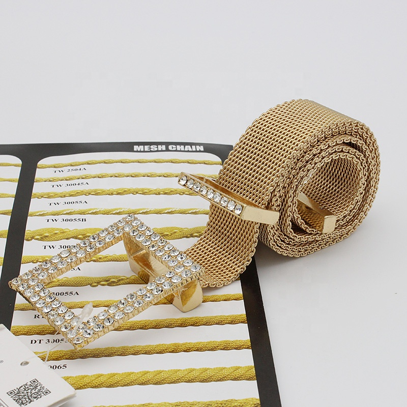 Fashion Diamond Studded Full Diamond Belt Head Girl Lady Gold Metal Mesh Chain Belt