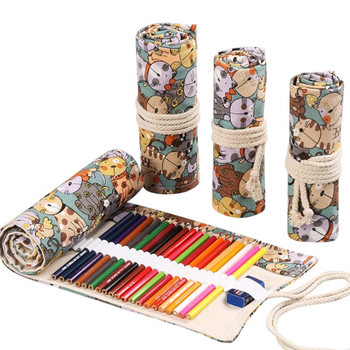 24 Roll School Pencil Case Kawaii Canvas Pen Bag Penal for Girls Boys Cute Large Pencilcase Penalties Box Stationery