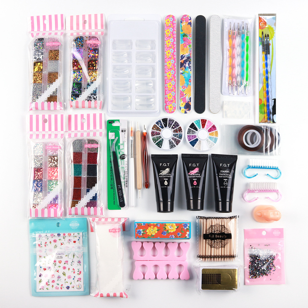 Mixed acrylic nail starter set poly <strong>gel</strong> builder <strong>gel</strong> nail extension nail stickers and tool kit