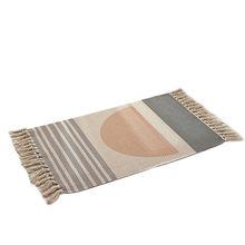 2020 Ретро богемный ручной тканый хлопковый льняной ковер кровать прикроватный ковер с кисточками напольный коврик ковры для гостиной спаль...(Китай)