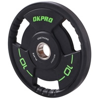 OKPRO Three Grip Handle PU Urethane Weightlifting Weight Plate