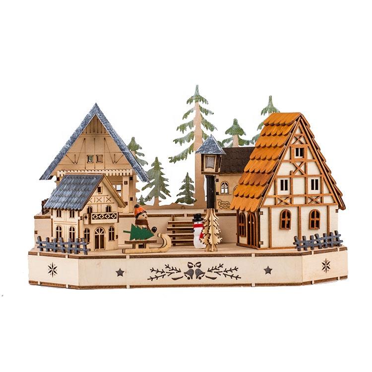 זוהר LED אור עץ אומנויות ומלאכות בית קישוט חג המולד כפר סט אורות