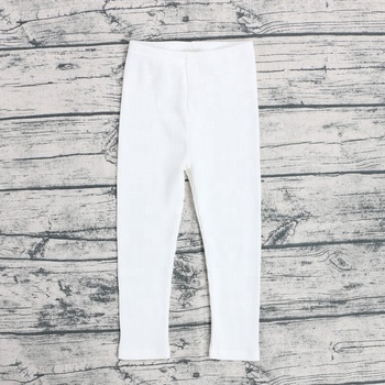 Wholesale ribbed cotton pants clothing high quality plain girl legging pant