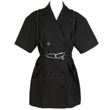Женский пиджак с пряжкой на пуговицах [EAM], черный свободный пиджак большого размера с отложным воротником и рукавом до локтя, весна-лето 2020 ...(Китай)