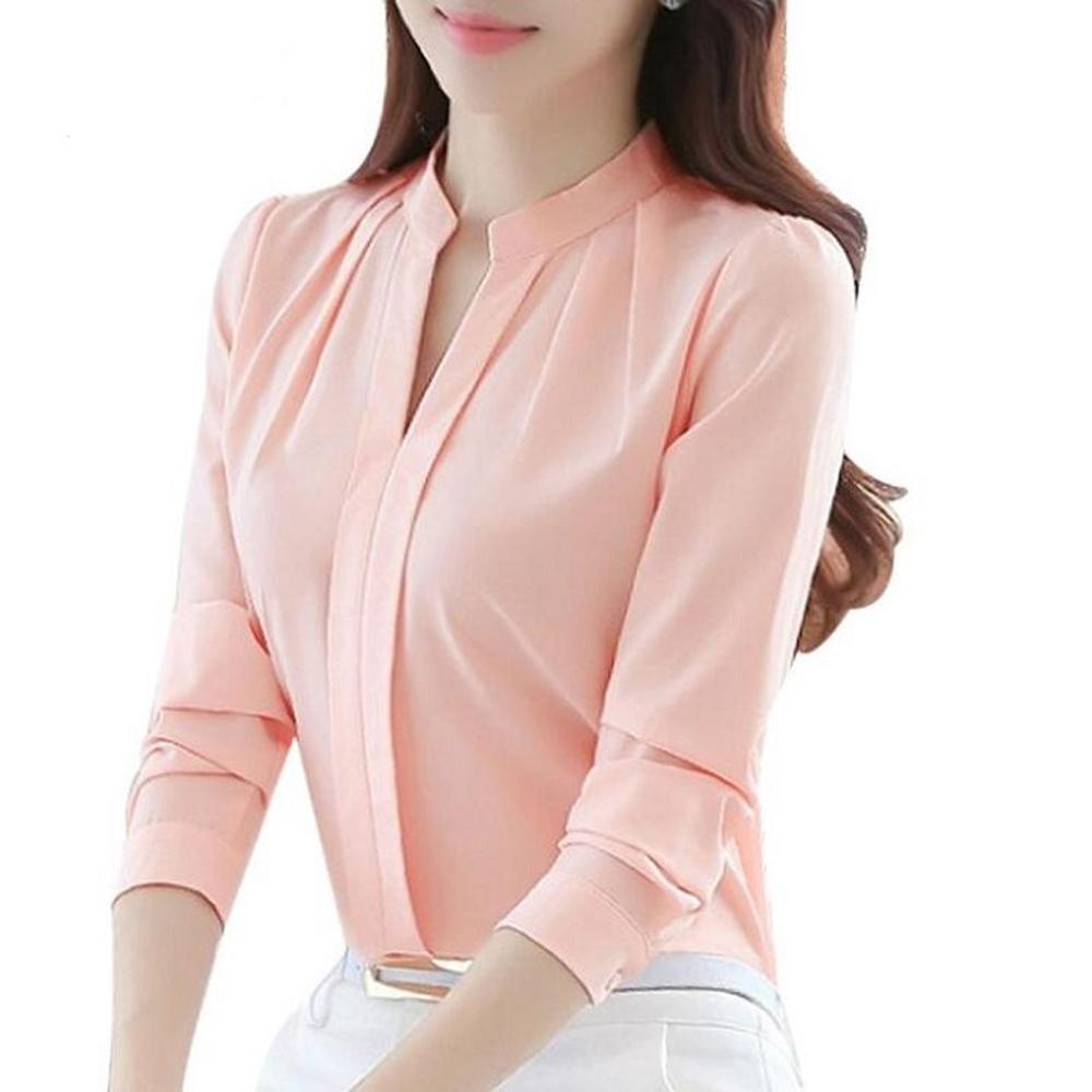 Kore moda V boyun uzun kollu zarif ofis bayanlar şifon bluzlar