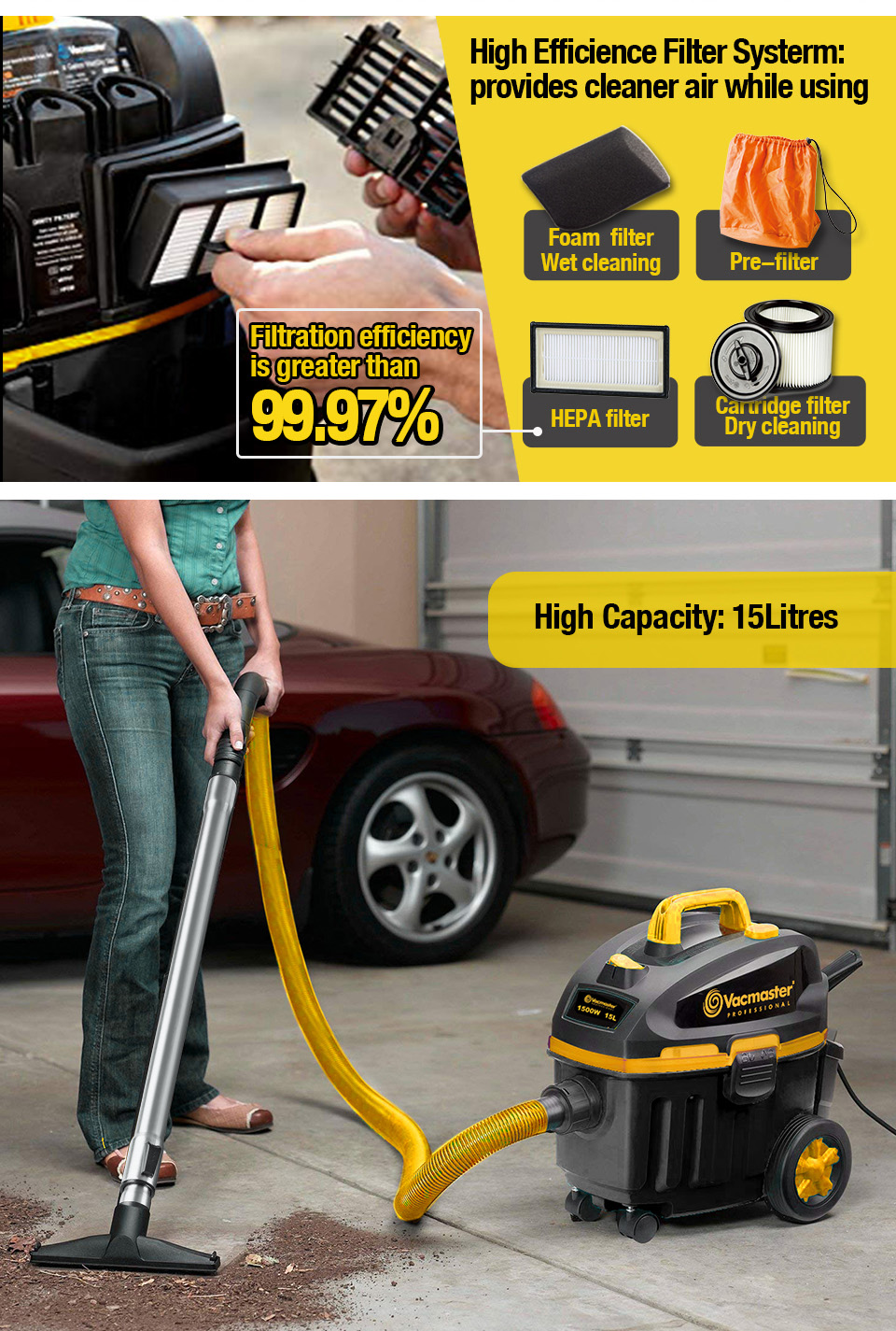 Vacmaster 2020 aspiradoras 1500W 15L bagged auto cord rewind portable household floor wet and dry car vacuum cleaner, VF1515HJ